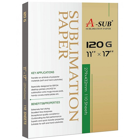 A-Sub Inkjet Sublimation Paper 110 Sheets/Pack 11'' x 17'', Especially Suitable for Sawgrass Printer,120g (110 Sheets)
