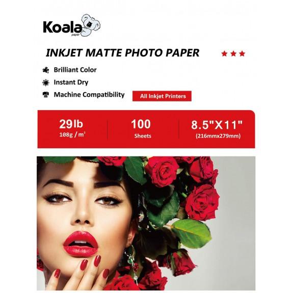 KoalaInkjet MattePhotoPaper 8.5x11 Inch 100 Sheets 108gsm Used For Inkjet Printer