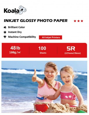 Koala Photo Paper High Glossy 5x7 Inches 100 Sheets 180gsm Compatible with Inkjet Printer