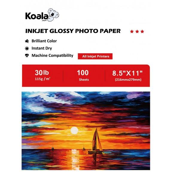 Koala Inkjet Glossy Photo Paper 8.5x11 Inch 115gsm 100 Sheets Used For All Inkjet Printers