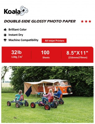Koala Double Side Glossy Photo Paper 8.5x11 Inch 100 Sheets 120gsm Used For All Inkjet Printers