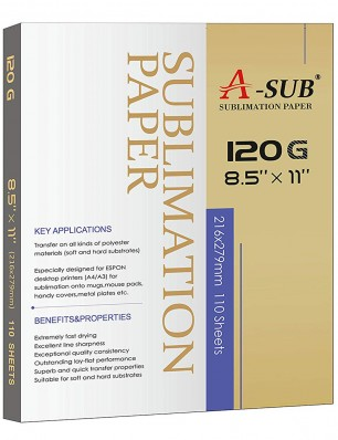 A-Sub Inkjet Sublimation Paper 8.5'' x 11'' 120gsm 110 Sheets/Pack, Especially Suitable for Sawgrass Printer