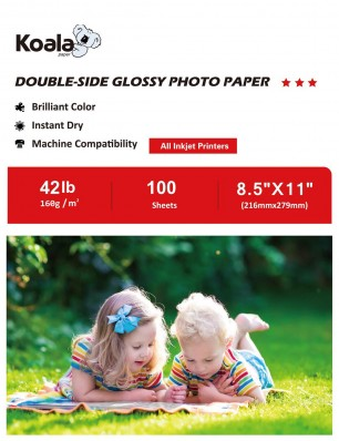 Koala Double Side Glossy Photo Paper 8.5x11 Inches  160gsm 100 Sheets Compatible with Inkjet Printer