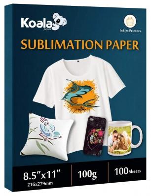 KOALA Sublimation Transfer Paper 8.5x11 Inch 100 Sheets 100gsm for Inkjet Printer