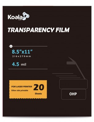 Koala 8.5x11 Inches OHP Printing Transparency Film for Laser Printer