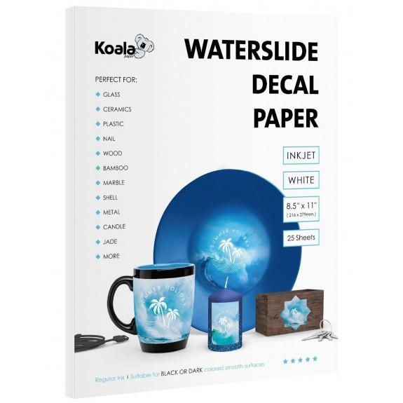 Koala Watersilde Decal Transfer Paper 25 Sheets White 8.5x11 Inches Printable for Inkjet Printer