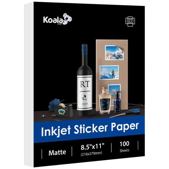 Koala Matte Sticker Label Printable Paper 8.5x11 Inches Full Sheet for Inkjet Printer 100 Sheets