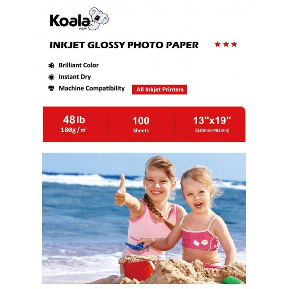 Koala Glossy Photo Paper 180gsm 13X19 Inches 100 Sheets Compatible with Inkjet Printer