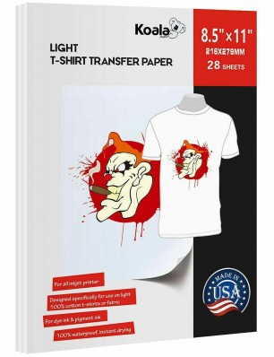 Koala Light T Shirt Transfer Paper 8.5x11 inch Compatible with All Inkjet Printer 25 Sheets
