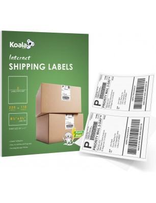 Koala 110 Sheets, 220 Count Half Sheet Self Adhesive Shipping Labels,5-1/2 X 8-1/2 Inch, 2 per Sheet