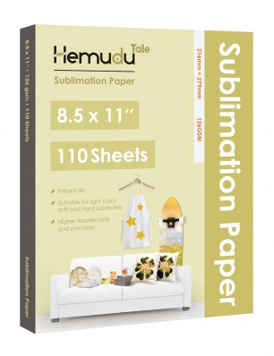 Hemudu Sublimation Transfer Paper 8.5'' x 11'' 126gsm 110 Sheets for any Inkjet Printer