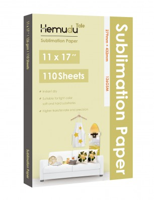 Humudu Sublimation Transfer Paper 11'' x 17'' 126gsm 110 Sheets for any Inkjet Printer