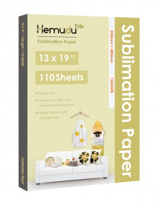 Humudu Sublimation Transfer Paper 13'' x 19'' 126gsm 110 Sheets for any Inkjet Printer
