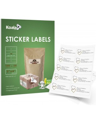 Koala 10-UP Shipping Address Labels, 2x4 Inch Sticker Labels for Laser & Inkjet Printers,100 Sheets 1000 Labels