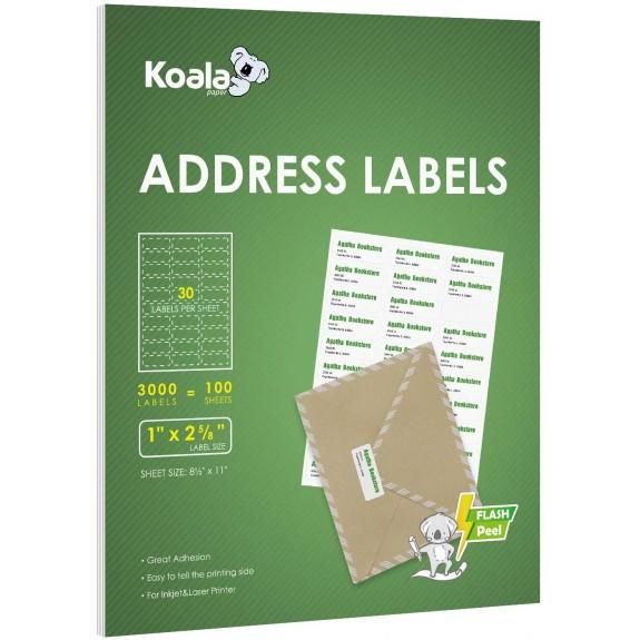 Koala 30-UP Shipping Labels  1x2-5/8 Inch 100 Sheets 3000 Labels for Laser & Inkjet Printers