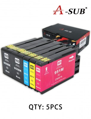 A-SUB Compatible Ink Cartridge Replacement for HP 950XL 951XL  (5 PCS:2 Black, 1 Cyan, 1 Magenta, 1 Yellow)