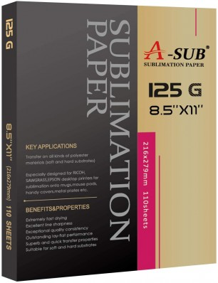 A-SUB Sublimation Paper 8.5 x 11 Inch 125gsm 110 Sheets Used For EPSON ME Series,RICOH GX Series And SAWGRASS Printers