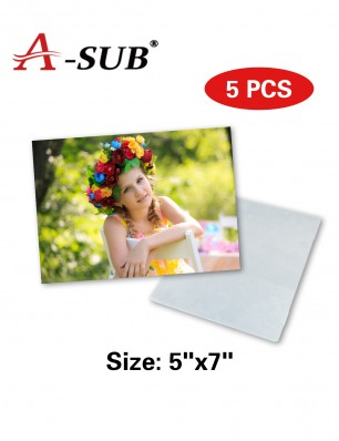 "A-SUB HD Sublimation Aluminum Photo Panels 5"" x 7"" 5 Pack"