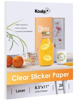 Koala Waterproof Printable Clear Sticker Paper for Laser Printers 8.5x11 in 20 Sheets