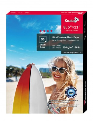 Koala Advanced High Glossy Photo Paper 8.5x11 Inch 250gsm 50 Sheets Used For Canon Hp Epson Inkjet Printer