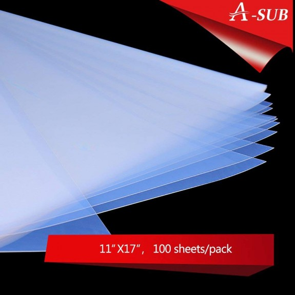 A-SUB 100 Sheets Waterproof Inkjet Transparency Film 11X17/13X19 inch, for  Screen Printing