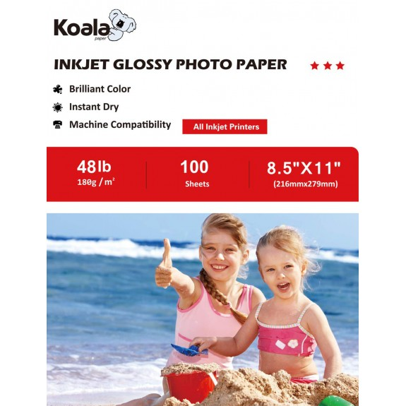 Koala Inkjet Glossy Photo Paper 8.5x11 Inch 180gsm 100 Sheets Used For All Inkjet Printers