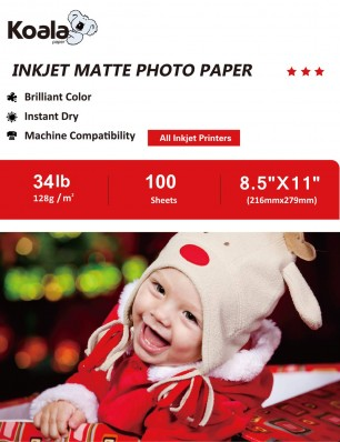 Koala Inkjet Double Sided Matte Photo Paper 8.5x11 Inch 128gsm 100 Sheets Used For Inkjet Printer