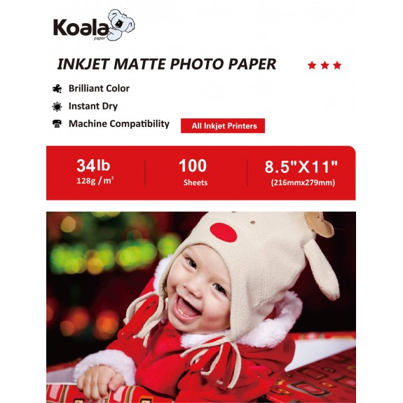 KoalaInkjet Double Sided MattePhotoPaper 8.5x11 Inch 128gsm 100 Sheets Used For Inkjet Printer
