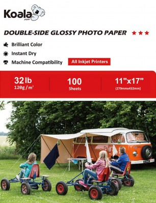 Koala Double Sided Glossy Photo Paper 11x17 Inch 120gsm 100 Sheets Used For All Inkjet Printers