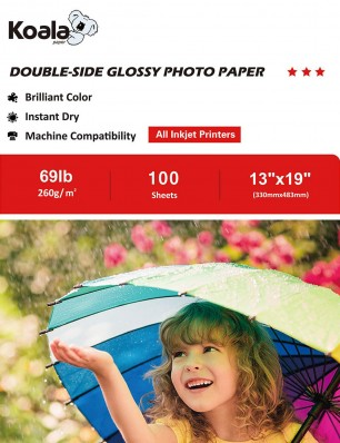 Koala Heavyweight Double Sided Glossy Photo Paper 13x19 Inch 260gsm 100 Sheets Used For  Inkjet Printers