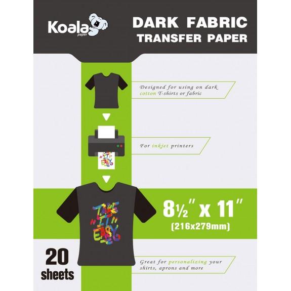Koala Premier Digital Dark T Shirt Transfer Paper 8.5x11 inch Compatible with All Inkjet Printer