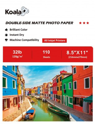 Koala Double Sided Matte Photo Paper 8.5x11 Inch 120gsm 110 Sheets Used For All Inkjet Printers