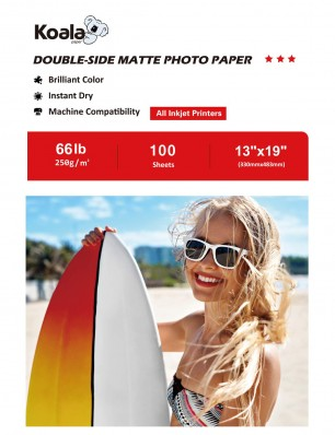 KoalaDouble Sided MattePhotoPaper 13x19 Inch 250gsm 100 Sheets Used For All Inkjet Printers